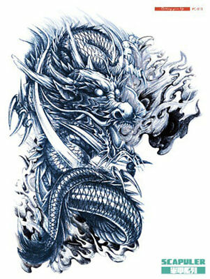 A4+ LEFT FIRE DRAGON SCAPULER CHEST SHOULDER ARM HALF SLEEVE Temporary Tattoo