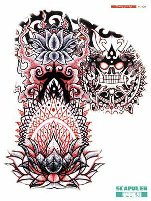 A4+ LEFT FIRE LOTUS SCAPULER CHEST SHOULDER ARM HALF SLEEVE Temporary Tattoo