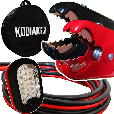 Kodiak Auto Heavy Duty 1 Gauge x 25 Ft Jumper Cables with Bag [Bonus Magnetic LE