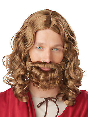 Kids Jesus Joseph Wig  Beard Set Nativity Christmas Fancy Dress Boys Shepherd