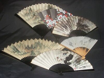 Vintage Chinese Paper Hand Fans Lot Of 6 Calligraphy Signed