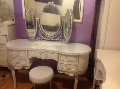 French/ Rococo/ Not So Shabby Chic Style Dressing Table With Mirror And Stool
