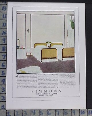 1923 Simmons Mattress Sleep Bed Room Interior Home Decor Vintage Art Ad  Cr27