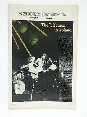 Vintage Zygote rock music newspaper - July 1970 Jefferson Airplane WFMU