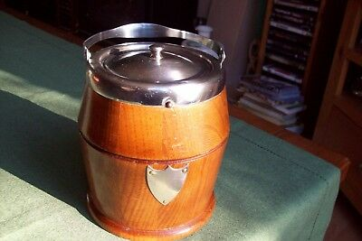 Vintage Tobacco Barrel Wood And Stainless Steel