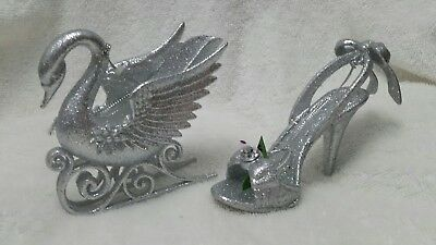 Silver  dove and silver  high heel shoe  Christmas ornament