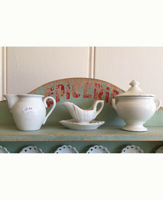 17-36:  Antique Child's Toy China Dishes White Pitcher Tureen Gravy Boat