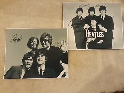 The Beatles. Signed Pictures. Set Of 2. Large. John Lennon. Paul Mccartney.