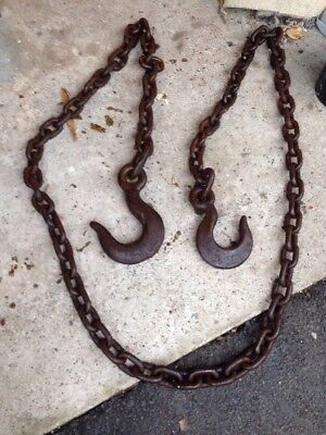 Large Heavy Double Hook & Chain Tow Chain Farm Towing Hooks