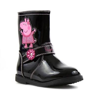 Girls Black Patent Peppa Pig  Winter Boots With Zip Uk Size 5,6,7,8,9,10