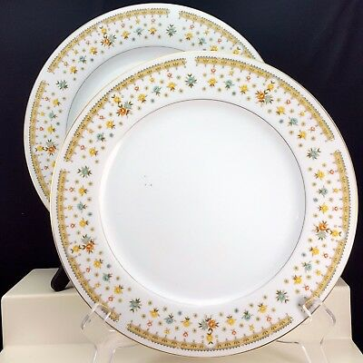 Fine China of Japan Garden Bouquet 4078 Dinner Plates Set of 2 White Floral Gold