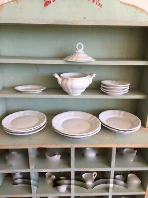 17-38:  Antique Child's Dishes White Plates & Soup Tureen Bowls Doll Toy China