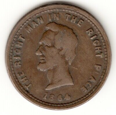 *lincoln* F-126/295 **the Right Man In The Right Place** Civil War Token