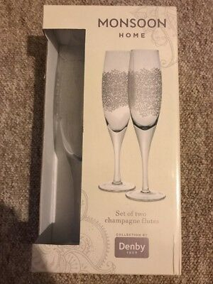Monsoon Denby Set Of 2 Champagne Flutes *New*