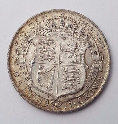 Dated : 1917 - Silver Coin - Half Crown - King George V - Great Britain