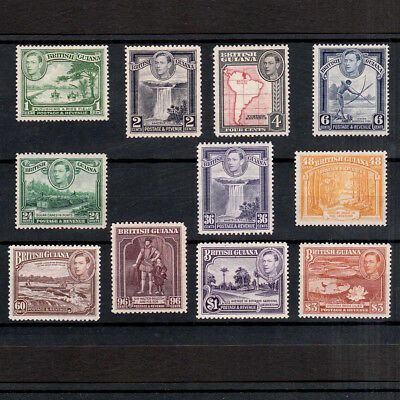 British Guiana 1938 Selection Of Mint King George Vi Stamps To Three Dollars