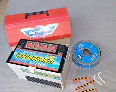 Vintage Micro Machines Playsets LOT OF 3 Battery, Toolbox, Car Wax