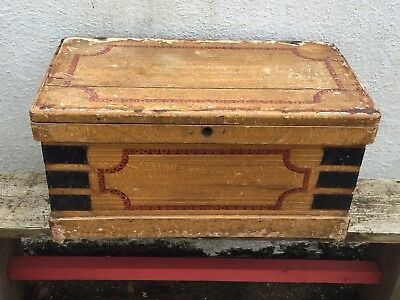 antique victorian painted pine chest blanket Box