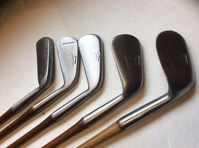 Play Set Of Tom Stewart Hickory Shafted Smooth Faced Irons In Good Condition