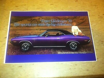 Vintage 1970 Dodge Challenger  Advertisement Poster Man Cave Gift Art Decor
