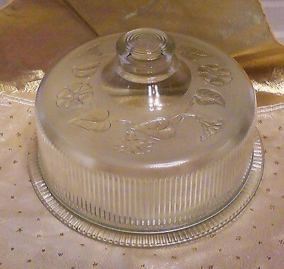 Antique Anchor Hocking Morning Glory Ribbed Clear Glass Cake Dome & Under Plate