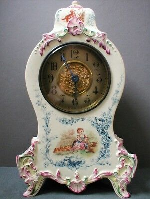 19th CENTURY FRENCH LONGWY POTTERY TIMEPIECE CLOCK