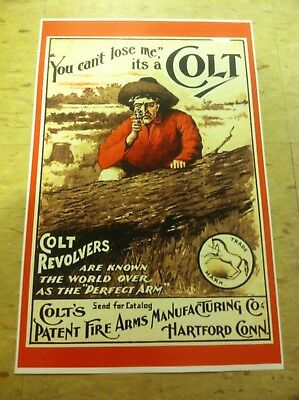 Vintage Colt Pistol Gun Advertisement Poster Man Cave Gift Art Decor