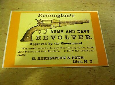 Vintage Remington Army Pistol Gun Advertisement Poster Man Cave Gift Art Decor