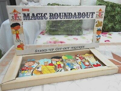 RARE 1970's The MAGIC ROUNDABOUT wooden STAND-UP CUT-OUT figures BOXED,jigsaws