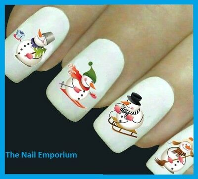 Christmas Nail Art Decals Water Transfers Wraps Stickers Snowmen Snow #A135