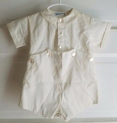 NOS Vintage 60s Handmade Feltman Bros Baby Boy White One Piece Romper Outfit Set