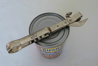 Vintage SKYLINE England Stainless Steel Stab Push Tin Can Opener with Corkscrew