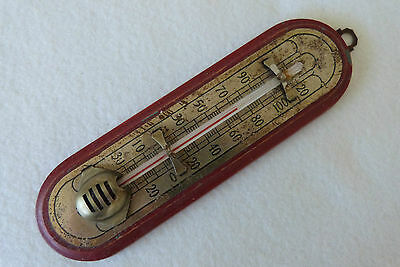 Antique Brass on Wood Art Deco Indoor Ethanol Fahrenheit Wall Thermometer 1920s