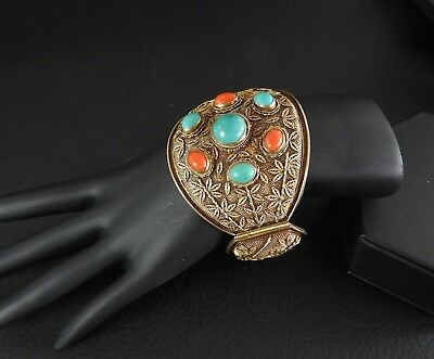 Antique Vintage Chinese Silver Gilt Bracelet Turquoise Coral Hinged Filigree 58g