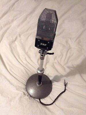 Vintage G.E.C Ribbon Microphone With Stand. GEC STC 1950's Mic.