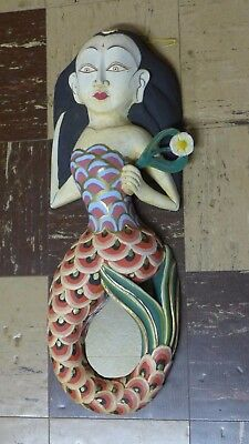 Indonesian / Balinese Handcrafted Wooden Large Red Mermaid Mirror