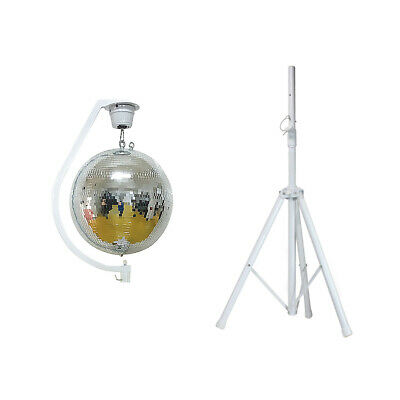 Equinox Curve Max Mirror Ball Hanging Bracket & Motor + 500mm Ball & White Stand