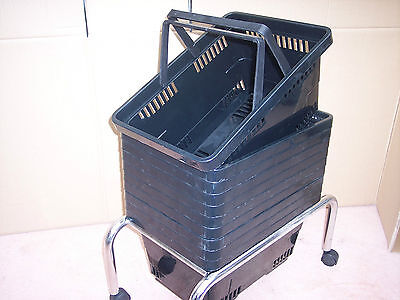 10 Plastic Shopping Baskets plus Stand