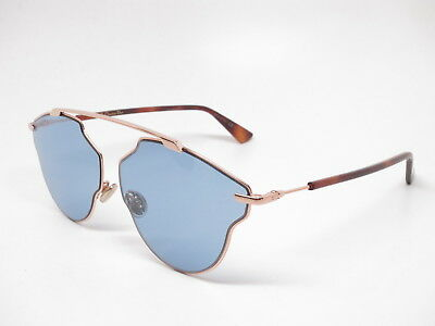 67f28a6382a4 New Authentic Christian Dior So Real Pop DDBKU Gold Havana with Blue  Sunglasses