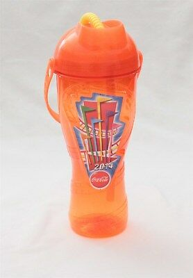 2014 Six Flags Theme Park Orange Souvenir Water Bottle Cup With Straw