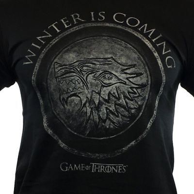 GAME OF THRONES T-Shirts- WINTER IS COMING House of Stark - Black - 100% Cotton.