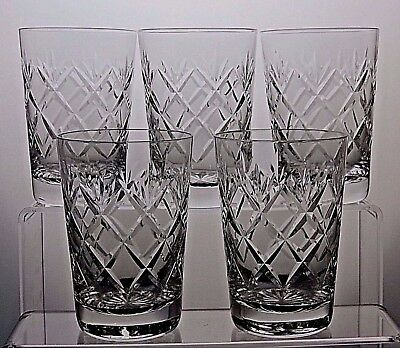 Webb Corbett Crystal Cut Glass Whisky Flat Tumblers Whiskey Set Of 5.