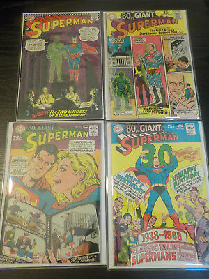 SUPERMAN #186,207,212 + EIGHTY-PAGE GIANT #11 lot of 4 DC silver age.