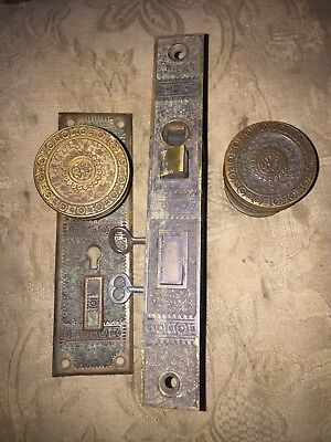 ANTIQUE  Branford Ivy Design DOOR KNOBS ENTRY LOCK, ROSETTE EASTLAKE
