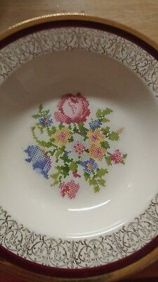 Vintage Knowles China, Cross Stitch Floral Pattern, 1937 salad bowl KNO13