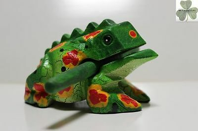 Frog, Guiro Rasp, Wooden Musical Toy, Green with Red/Yellow Spots 4 inch size