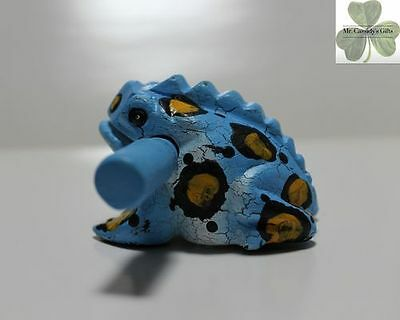 Frog, Guiro Rasp, Wooden Musical Toy, Blue with Black/Yellow Spots 2 inch size