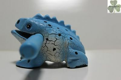 Frog, Guiro Rasp, Wooden Musical Toy, Blue with Black Spots 4 inch size