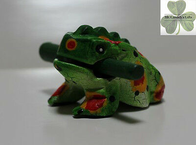 Frog, Guiro Rasp, Wooden Musical Toy, Green with Red/Yellow Spots 2 inch size