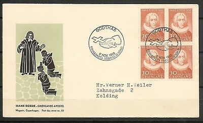 "GREENLAND 1958 FDC ""Hans Egede"" Missionary 30 ore Block of 4 -Facit 42"
